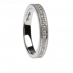 Womens Celtic Knot Diamond White Gold Wedding Ring