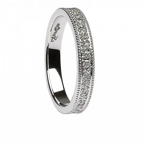 womens celtic knot diamond white gold wedding ring - Celtic Knot Wedding Rings