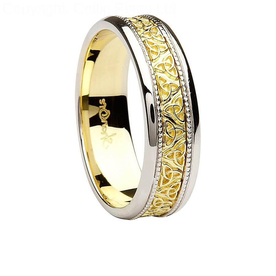 mens celtic trinity knot two tone wedding ring - Two Tone Wedding Rings