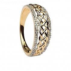Damen-keltische Knoten-Diamant Gelbgold Ring