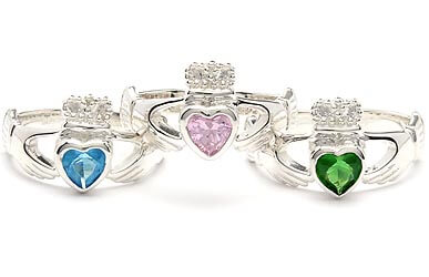 Image of Birthstone Claddagh Rings