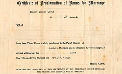 Image result for publication of banns of marriage